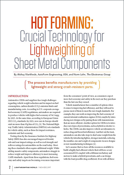 Hot Forming: Crucial Technology for Lightweighting of Sheet Metal Components
