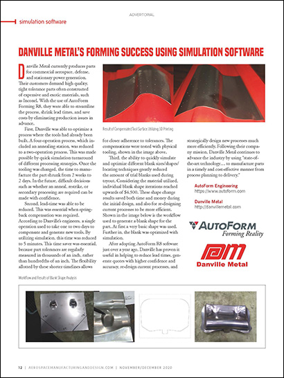 Danville Metal's Forming Success Using Simulation Software (PDF 385 KB)